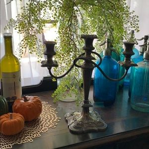 Vintage SIGNED Heavy silver candelabra candle tree